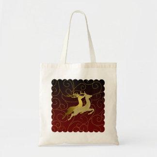 色の黒のグラデーションな2金ゴールドのトナカイの休日 トートバッグ
