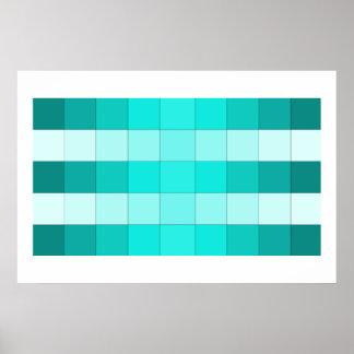 色のColorstrips Colorbandsのターコイズの芸術ポスター ポスター