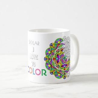 色への曼荼羅010617の大人の着色I愛 コーヒーマグカップ