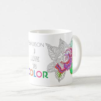 色への花020617の大人の着色のおもしろいI愛 コーヒーマグカップ