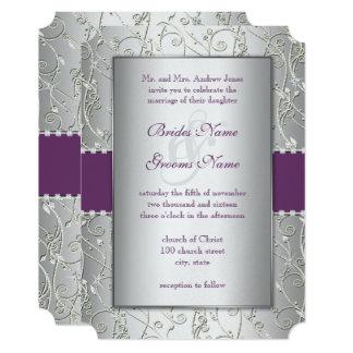 色またはプラム銀の渦巻の結婚式招待状 12.7 X 17.8 インビテーションカード
