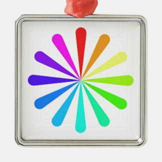色ファン車輪 シルバーカラー正方形オーナメント