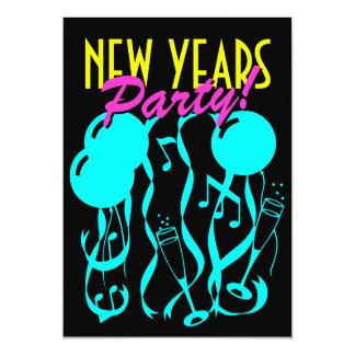 色大晦日のパーティの招待状 のネオン カード
