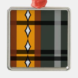 色彩の配合のダイヤモンドの格子縞: モダン メタルオーナメント