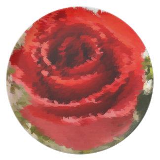 色彩の鮮やかで赤いバラ プレート