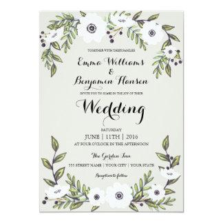 色彩の鮮やかなアネモネ-花の結婚式招待状 カード