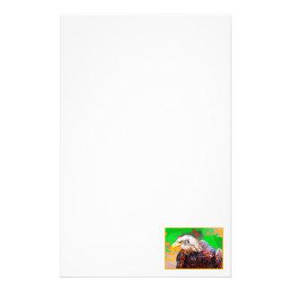 色彩の鮮やかなアメリカの白頭鷲のネオンのポートレート 便箋