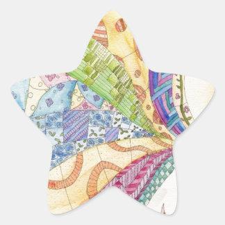 色彩の鮮やかなキルト 星シール