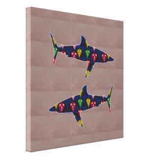 色彩の鮮やかなクジラの魚の野生のおもしろいのnavinJOSHI NVN151に直面して下さい キャンバスプリント