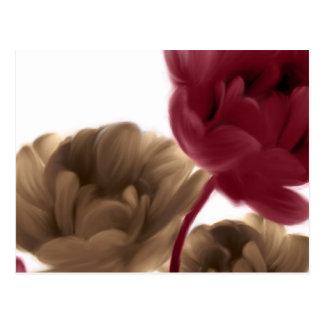 色彩の鮮やかなバラ-バーガンディおよびバーラップ ポストカード