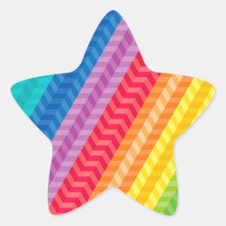 色彩の鮮やかなパレットの虹のヘリンボンパターン 星シール