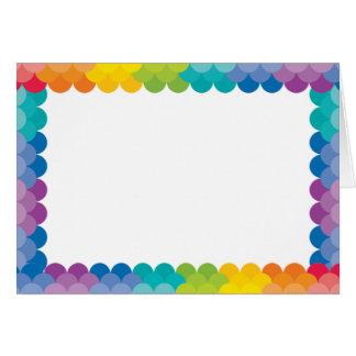 色彩の鮮やかなパレットの虹の帆立貝 カード