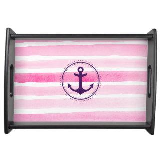 色彩の鮮やかなピンクの水彩画のストライプの航海のないかり トレー