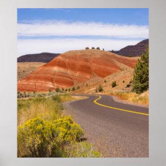 色彩の鮮やかな丘の化石のベッドのオレゴンの州米国 ポスター