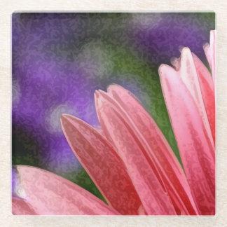 色彩の鮮やかな写真のピンクの花弁のコースター ガラスコースター