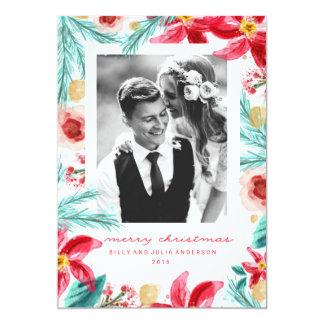 色彩の鮮やかな冬の植物のクリスマスの挨拶状 12.7 X 17.8 インビテーションカード