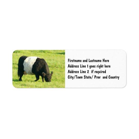 色彩の鮮やかな分野の一見によってギャロウェーベルトを付けられる牛 返信用宛名ラベル