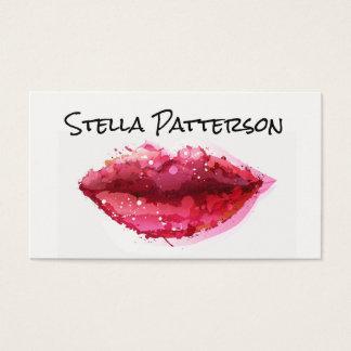 色彩の鮮やかな唇のメーキャップアーティストの名刺 名刺