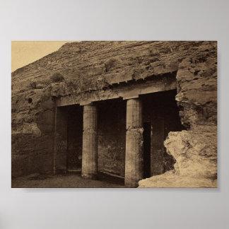 色彩の鮮やかな墓への入口、1856年頃エジプト ポスター