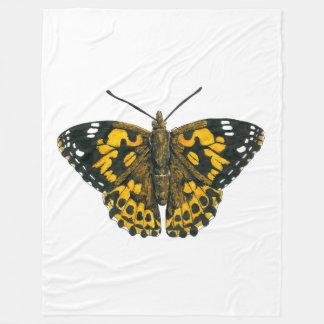 色彩の鮮やかな女性蝶 フリースブランケット