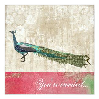 色彩の鮮やかな孔雀のピンク及び白いヴィンテージの招待状 カード