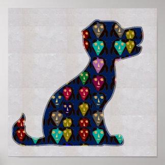 色彩の鮮やかな小犬ペットおもしろいNavinJOSHI NVN114に直面して下さい ポスター