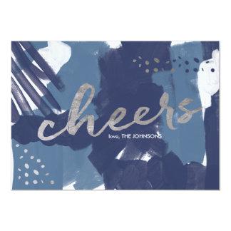 色彩の鮮やかな応援の抽象芸術のブラシは新年をなでます カード