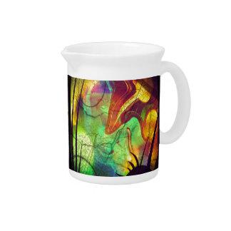 色彩の鮮やかな星雲-火オパールの抽象芸術 ピッチャー