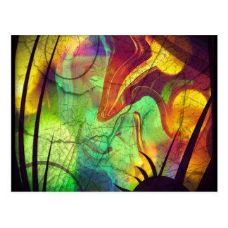 色彩の鮮やかな星雲-火オパールの抽象芸術 ポストカード