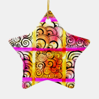 色彩の鮮やかな正方形の芸術 セラミックオーナメント