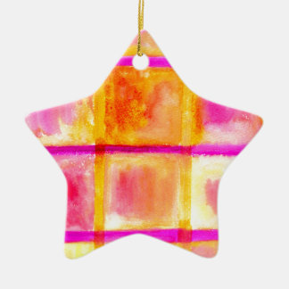 色彩の鮮やかな正方形Art3 セラミックオーナメント