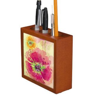 色彩の鮮やかな水彩画のケシ2 ペンスタンド