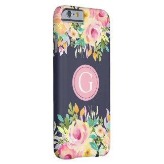 色彩の鮮やかな水彩画の花のモノグラムのIPhone6ケース Barely There iPhone 6 ケース