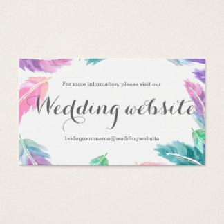色彩の鮮やかな水彩画は結婚式のウェブサイトに羽をつけます 名刺