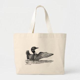 色彩の鮮やかな水潜り鳥 ラージトートバッグ