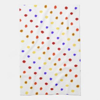 色彩の鮮やかな水玉模様 キッチンタオル