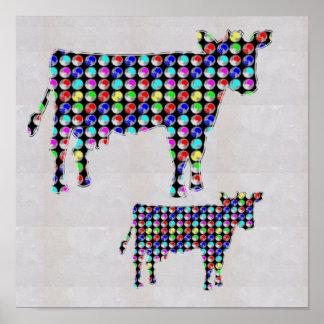 色彩の鮮やかな牛ペットおもしろいなペットNavinJOSHI NVN124に点を打って下さい ポスター