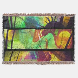 色彩の鮮やかな窓ガラスの抽象的なブランケット スローブランケット