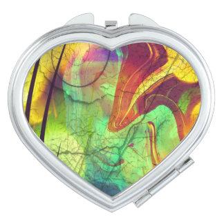 色彩の鮮やかな窓ガラス火のオパールの抽象芸術の鏡のコンパクト