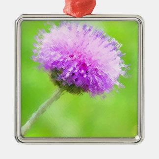 色彩の鮮やかな紫色のアザミ メタルオーナメント