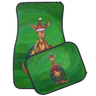 色彩の鮮やかな緑の背部のカンガルーのクリスマス カーマット