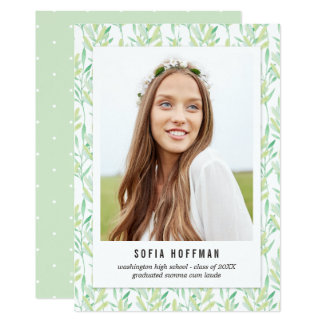 色彩の鮮やかな緑の草木の卒業の発表の招待 12.7 X 17.8 インビテーションカード