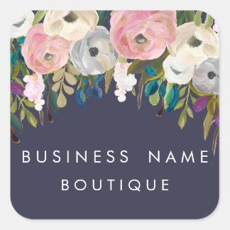 色彩の鮮やかな花のカスタマイズ可能なビジネスステッカー スクエアシール