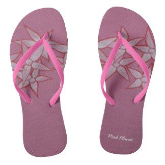 色彩の鮮やかな花のピンクのビーチサンダル ビーチサンダル