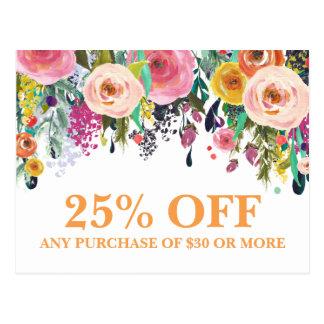 色彩の鮮やかな花のマーケティングのプロモーションの郵便はがき ポストカード