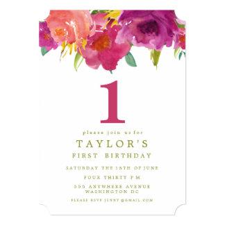 色彩の鮮やかな花の女の子の第1誕生日の招待 12.7 X 17.8 インビテーションカード