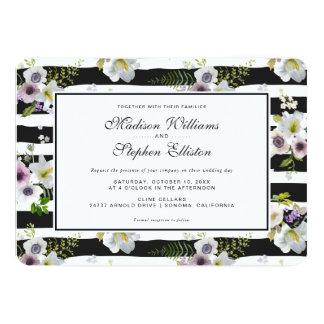 色彩の鮮やかな花の縞模様-結婚式 カード