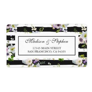 色彩の鮮やかな花の縞模様-結婚式 ラベル
