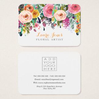 色彩の鮮やかな花の花屋はロゴカードを所有するために付け加えます 名刺