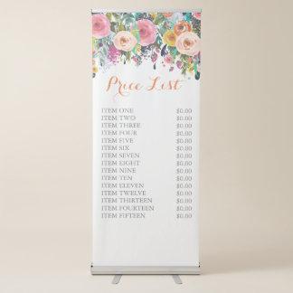 色彩の鮮やかな花柄自由で永続的なビジネス価格の印 伸縮バナー